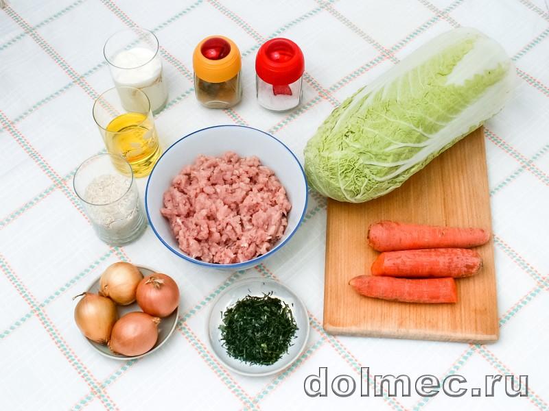 Голубцы из пекинской капусты в духовке со сметаной: фото 1